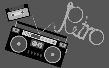 Black and white old retro vintage hipster music audio tape recorder and audio cassette and retro inscription. Vector illustration.