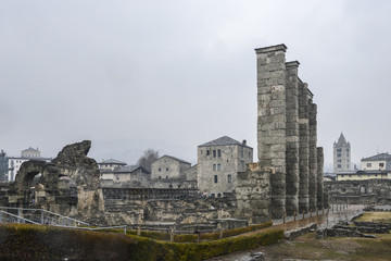 Ruins of old Roman theatre built in the late reign of Augustus in Aosta, Italy, some decades after the foundation of the city