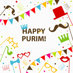 Template Jewish holiday Purim greeting card, crown, vector
