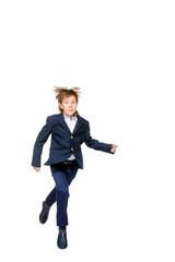 jumping school boy