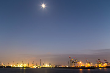 Cargo Terminal in Hamburg Port at night