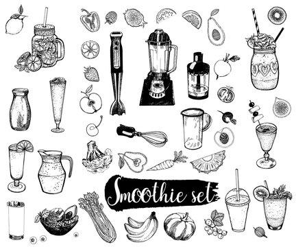 Set of hand drawn sketch style smoothie with fruits, vegetables and kitchenware. Isolated vector illustration.