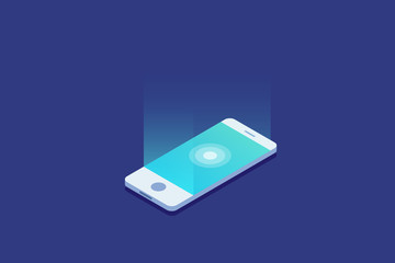 Smartphone. Digital gadget. Touchscreen mobile phone glows. 3d isometric flat design. Vector illustration.