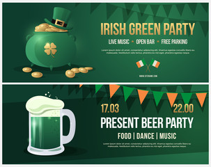 Invitation to feast day of St. Patrick. Leaflet with picture of pint of beer with white foam. Banner with green pot and Leprechaun hat, gold coins and gold clover.