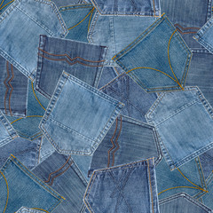 Seamless pattern from jeans pockets.