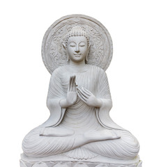 Thai Buddha statue isolated on white background with clippingpath