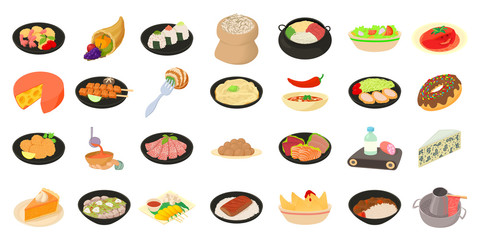 Food icon set, cartoon style
