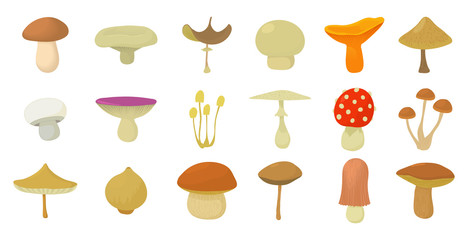 Mushroom icon set, cartoon style