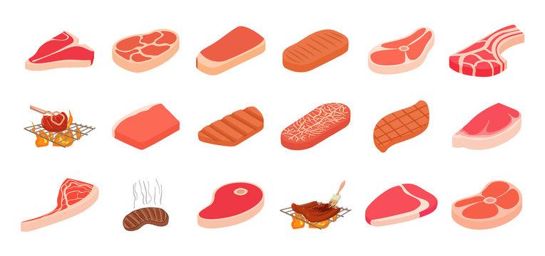 Steak icon set, cartoon style
