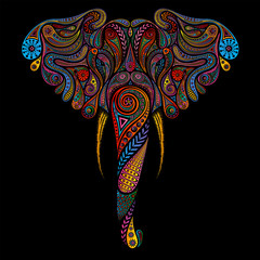 Vector colored elephant made of vintage patterns