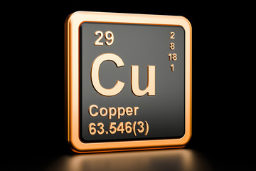 Copper Cu chemical element. 3D rendering