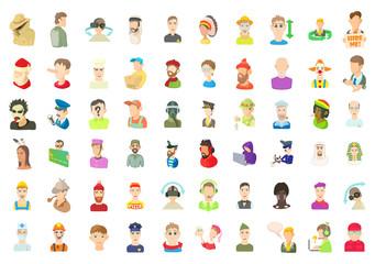 Men avatar icon set, cartoon style
