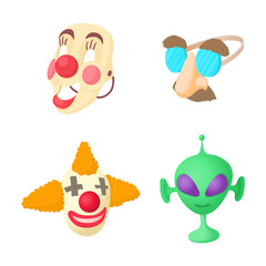 Clown mask icon set, cartoon style
