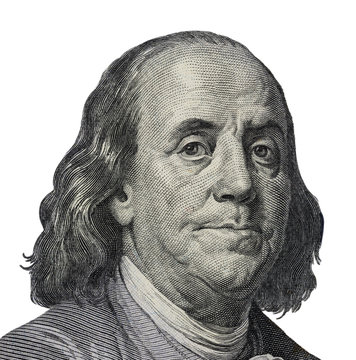 Benjamin Franklin. Qualitative portrait from 100 dollars banknote  Clipping path included