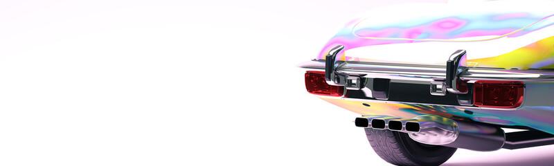 Holographic car 3d illustration