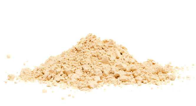 Peanut Butter Powder on a White Background