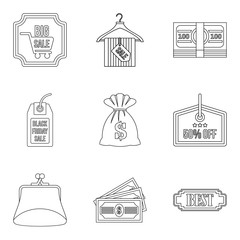 Income money icons set, outline style