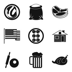 American food icons set, simple style