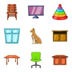 Family house icons set, cartoon style