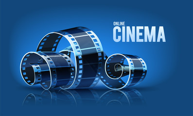 Movie cinema film reel on the blue background. Vector