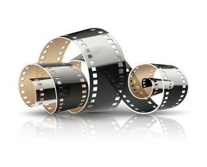 Film tape twisted reel for cinematography movies or photography.