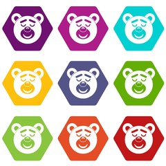 Sleeping teddy bear icon set color hexahedron