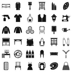 Item of clothing icons set, simple style