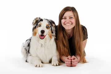 Cute girl and her friendly dog