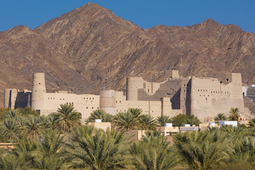 Ancient fort of Bahla in Oman mountainous desert