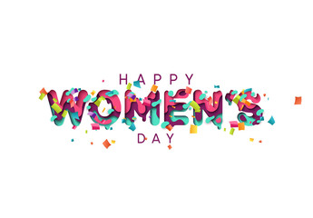 Happy Womens Day greeting card. Design letter modern style papercut multi color layers