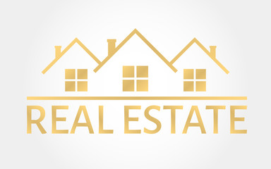 Real estate gold logo. House icon in line style. Creative logo design. Real estate agency template. Vector illustration