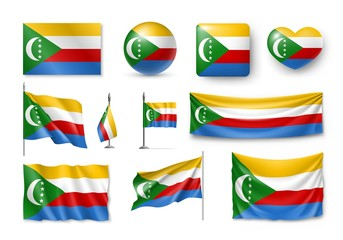 Set Comoros flags, banners, banners, symbols, realistic icon. Vector illustration of collection of national symbols on various objects and state signs