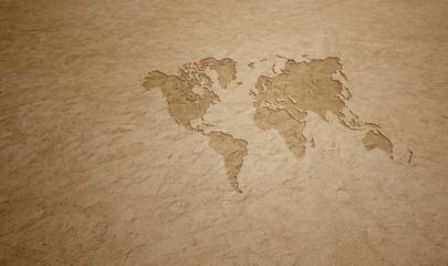 World Map on Sand Beach