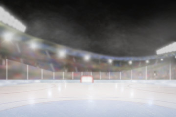 Outdoor Hockey Stadium With Copy Space