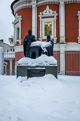 Spoed Foto op Canvas Monument Monument to the brothers Ionakinia and Sophrony Lihudam-Greek enlighteners, Moscow