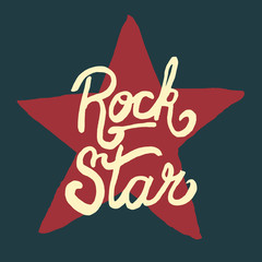 Rock star lettering, hand drawn poster or t-shirt, vector