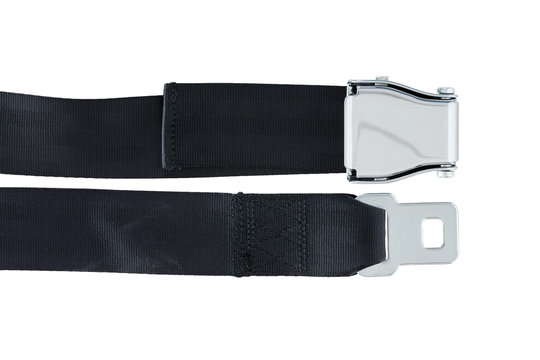 Male and Female side of Airplane Safety Seat Belts