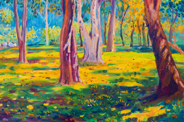 Oil painting landscape on canvas - colorful autumn trees.