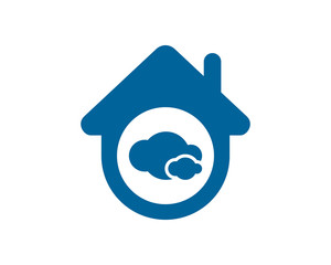 blue cloud cloudy sky house housing home residence residential real estate image vector icon
