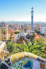 Foto op Canvas Barcelona View of Barcelona from Park Guell in Spain