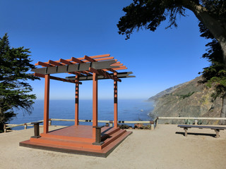 Majestic pagoda gazebo atop Pacific coast highway 1
