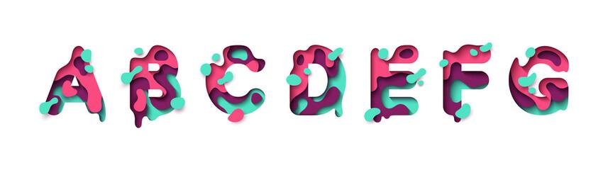 Paper cut letter A, B, C, D, E, F, G. Design 3d sign isolated on white background. Alphabet font of melting liquid.