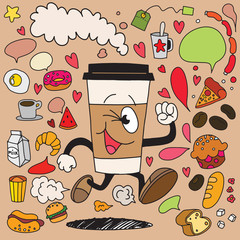 Vector illustration of smile takeaway coffee cup running on breakfast element background.