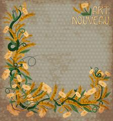 Wheaten banner in art nouveau style, vector illustration
