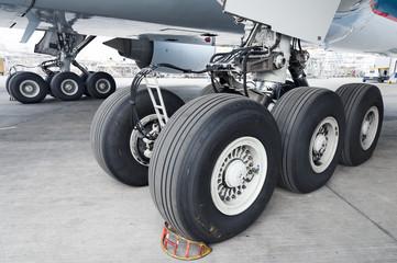 Close up of aircraft wheel at hangar