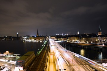 A night view of the road leading into Gamla Stan in Stockholm, Sweden