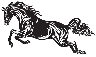 jumping horse stallion . Side view . Black and white tribal tattoo style vector illustration