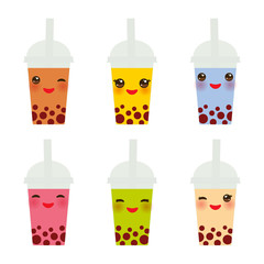 Kawaii  Bubble Tea with different fruits and berries. Milk Cocktails in plastic cup, tubule. Different sorts of Bubble Tea Cocktails. pastel colors on white background. Vector