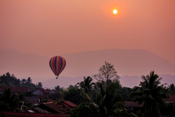 Balloon over the sky during sunsetting at Vang Vieng Laos