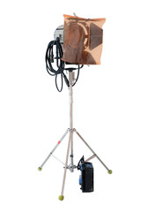 Studio lighting equipment isolated on white background